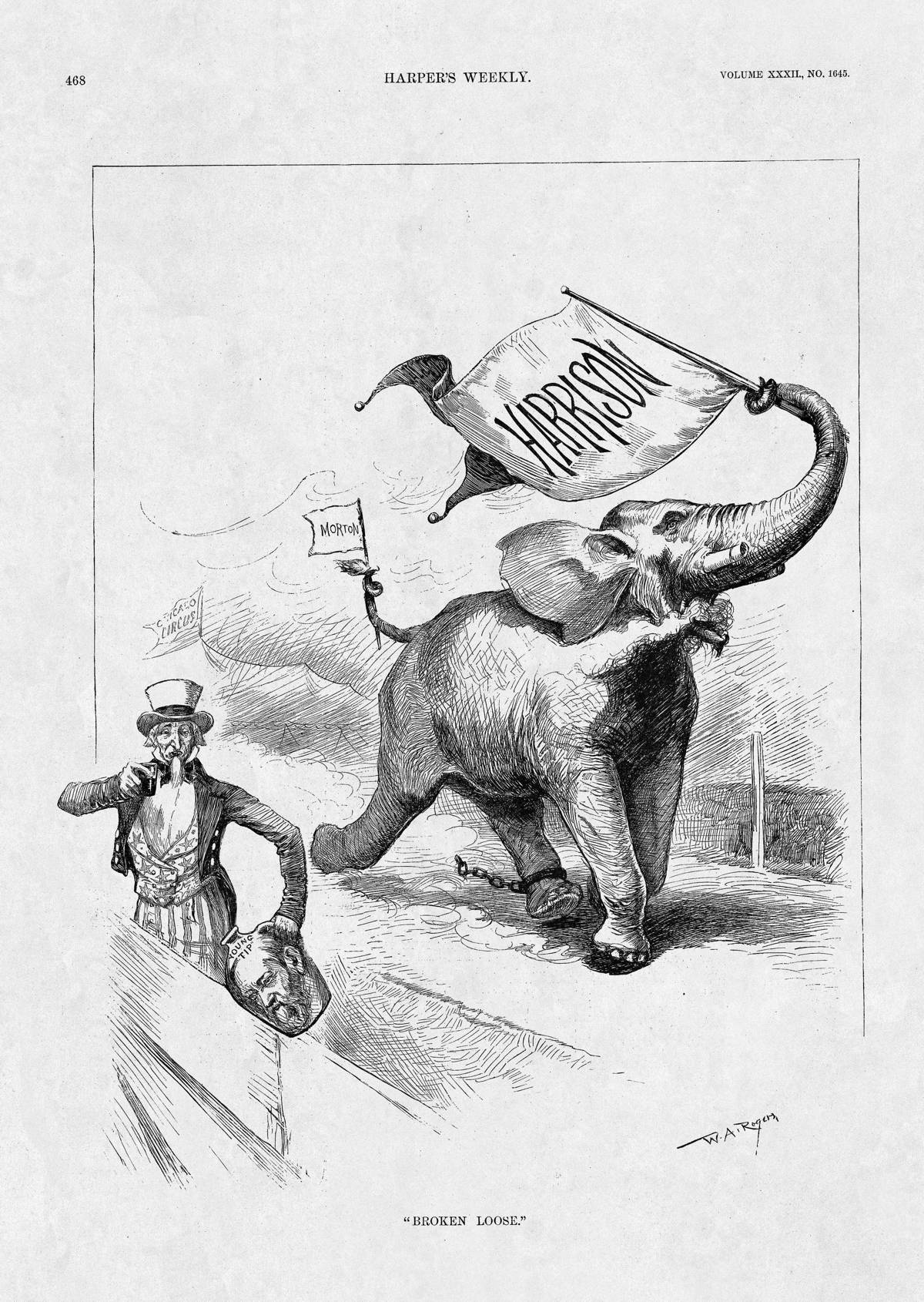 Wonderful image of HarpWeek Elections 1888 Large Cartoons with #343434 color and 1200x1690 pixels